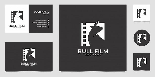 Design de logotipo de filme de touro e cartão de visita