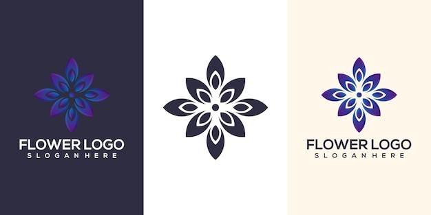 Design de logotipo de flor abstrata
