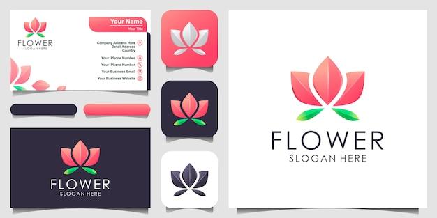 Design de logotipo de flor. centro de ioga, spa, logotipo de luxo do salão de beleza. design de logotipo, ícone e cartão de visita