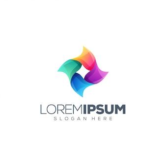 Design de logotipo de flor colorida