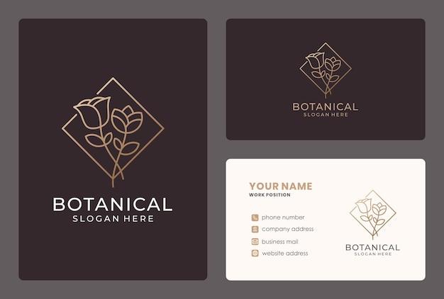 Design de logotipo de flor com cartão de visita