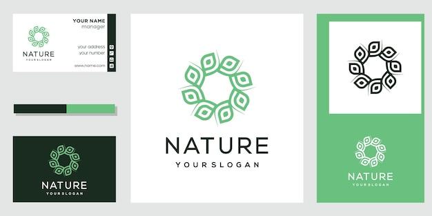Design de logotipo de flor com estilo de arte de linha. design de cartão de visita.