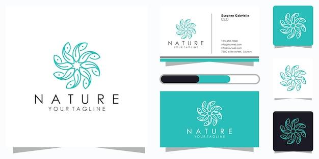Design de logotipo de flor com estilo de arte de linha e cartão de visita