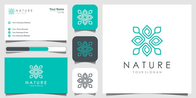 Design de logotipo de flor com estilo de arte linha. logotipos podem ser usados para spa, salão de beleza, decoração, boutique. e cartão de visita