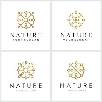 Design de logotipo de flor com estilo de arte linha. logotipos podem ser usados para spa, salão de beleza, decoração, boutique.