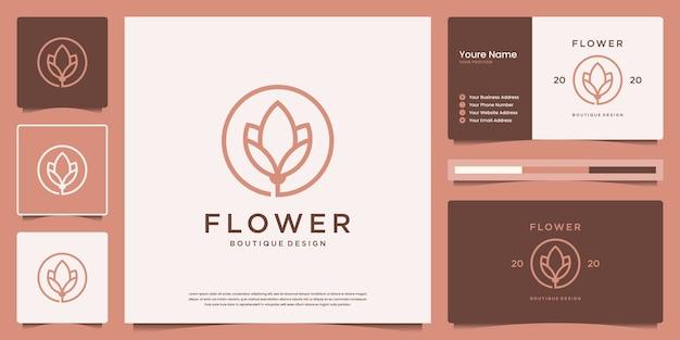 Design de logotipo de flor com estilo de linha de arte. conjunto de logotipo e cartão de visita