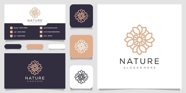 Design de logotipo de flor com estilo de linha de arte.