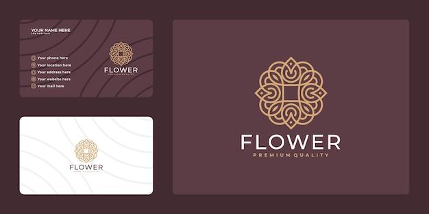 Design de logotipo de flor de beleza de luxo e modelo de cartão de visita