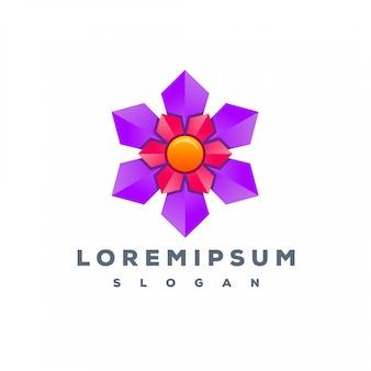 Design de logotipo de flor de cor pronto para uso