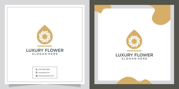 Design de logotipo de flor de folha de óleo natural
