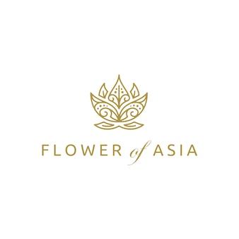 Design de logotipo de flor de lótus asiáticos dourado