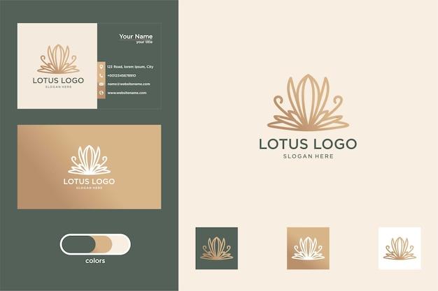 Design de logotipo de flor de lótus de luxo e cartão de visita
