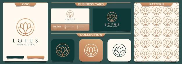 Design de logotipo de flor de lótus de luxo feminino