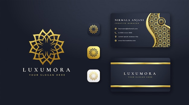 Design de logotipo de flor de luxo com cartão