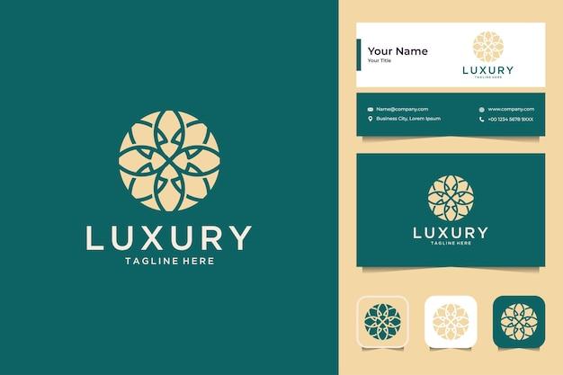Design de logotipo de flor de luxo e cartão de visita