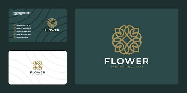 Design de logotipo de flor de luxo minimalista e modelo de cartão de visita