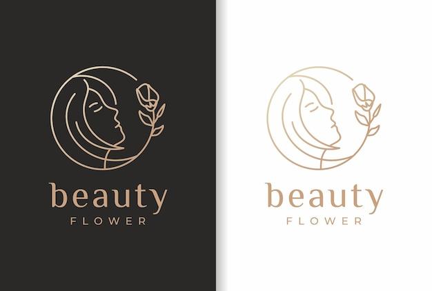 Design de logotipo de flor de mulher de beleza em estilo natural.