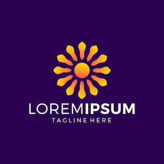 Design de logotipo de flor do sol