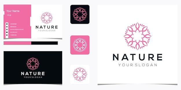 Design de logotipo de flor e cartão de visita