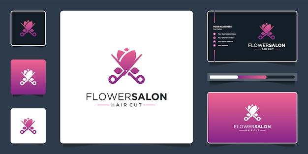 Design de logotipo de flor e tesoura de beleza com cartão de visita