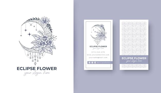 Design de logotipo de flor eclipse com cartão de visita potrait