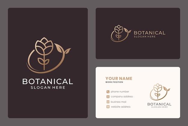 Design de logotipo de flor elegante com cartão de visita