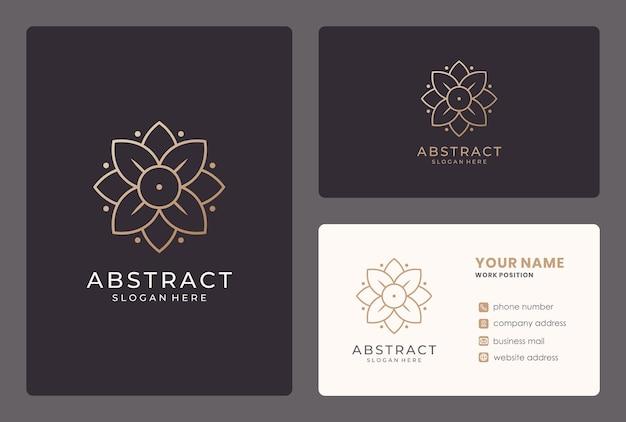 Design de logotipo de flor elegante com cartão de visita.