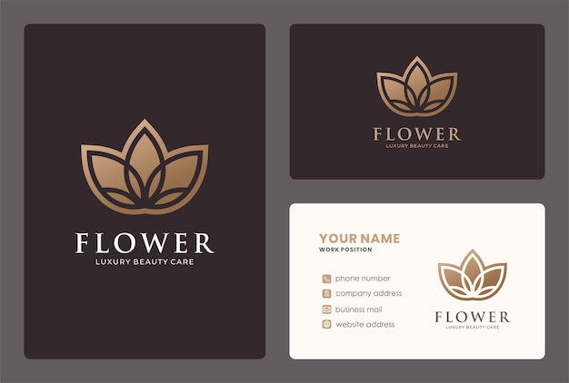 Design de logotipo de flor elegante com cor dourada.