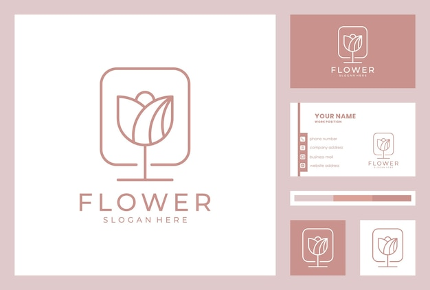 Design de logotipo de flor elegante com modelo de cartão.