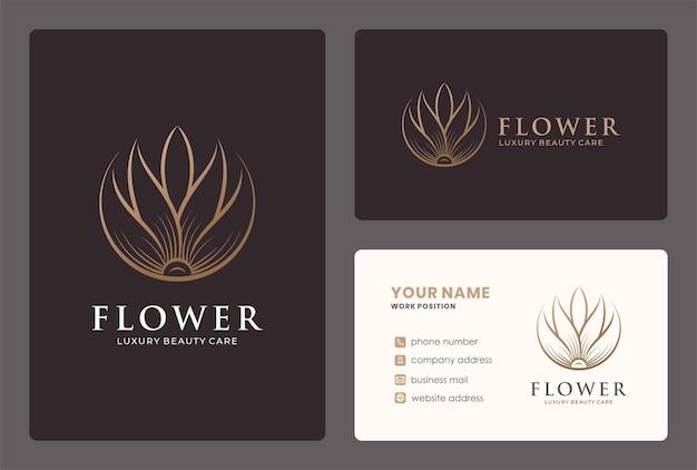 Design de logotipo de flor linear com modelo de cartão.