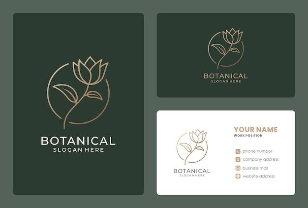 Design de logotipo de flor minimalista com cartão de visita