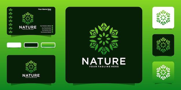 Design de logotipo de flor natural com design de logotipo de folhas giratórias, ícone de símbolo e cartão de visita