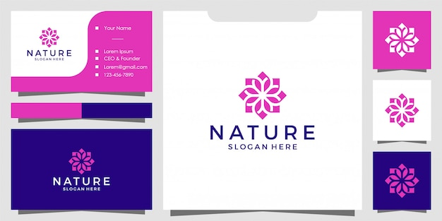 Design de logotipo de flor natural simples e cartão de visita