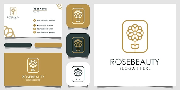Design de logotipo de flor rosa para beleza cosméticos ioga e spa e cartão de visita