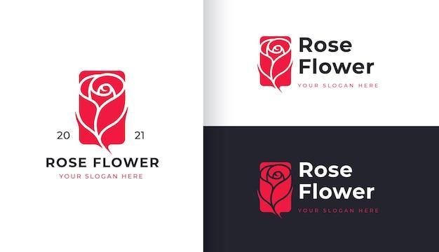 Design de logotipo de flor rosa vermelha