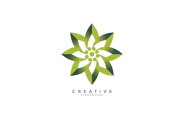 Design de logotipo de flor verde moderno greadint