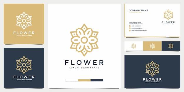 Design de logotipo de flores de beleza, salão, moda, cuidados com a pele, cosméticos, ioga e cartão de visita