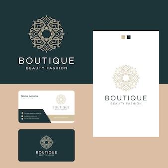Design de logotipo de flores de luxo ornamentais e cartão de visita