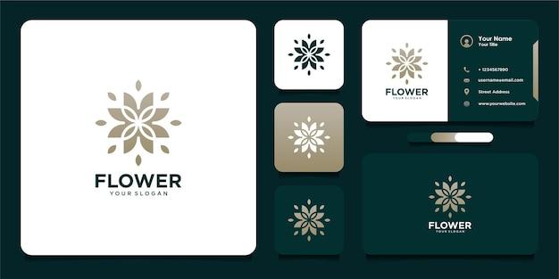 Design de logotipo de flores para beleza e cartão de visita
