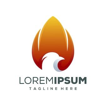 Design de logotipo de fogo de águia