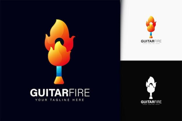 Design de logotipo de fogo de guitarra com gradiente
