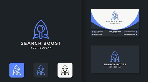 Design de logotipo de foguete de lupa e design de cartão de visita