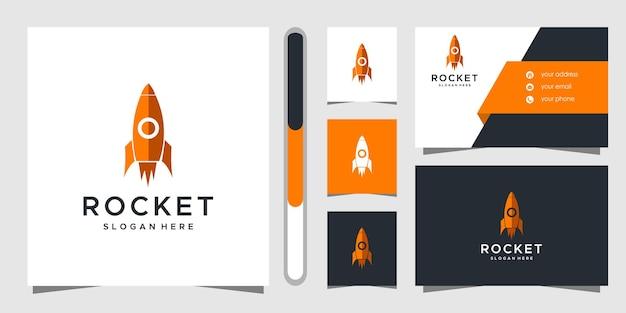 Design de logotipo de foguete e cartão de visita.