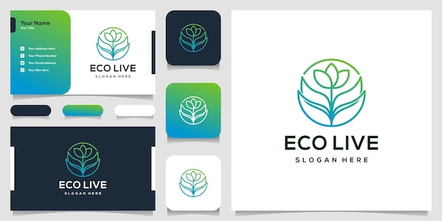 Design de logotipo de folha abstrata e cartão de visita