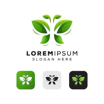 Design de logotipo de folha borboleta, logotipo da natureza