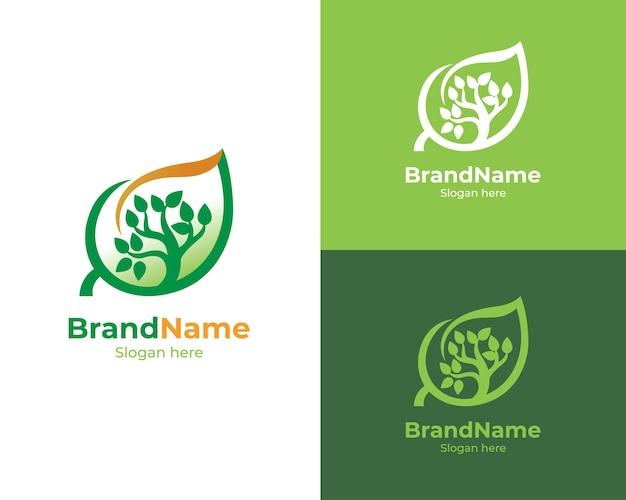 Design de logotipo de folha de árvore