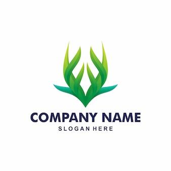 Design de logotipo de folha de chifre