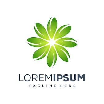 Design de logotipo de folha de círculo