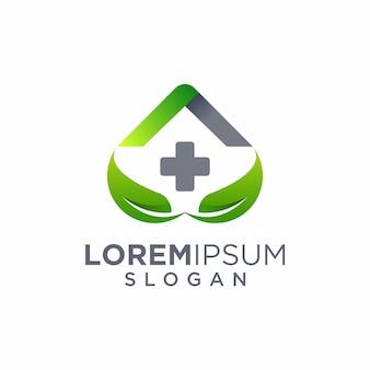 Design de logotipo de folha de cuidados em casa