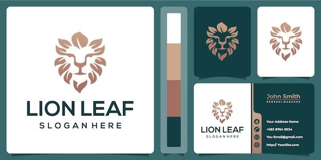 Design de logotipo de folha de leão com modelo de cartão de visita